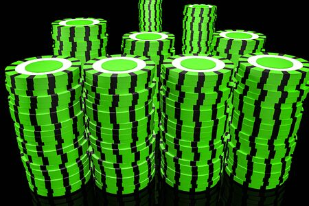 3d Illustration. Casino chips. Online casino concept. Isolated black background. Banco de Imagens