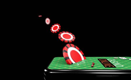 3d Illustration. Smartphone with chips. Online casino concept. Isolated black background.