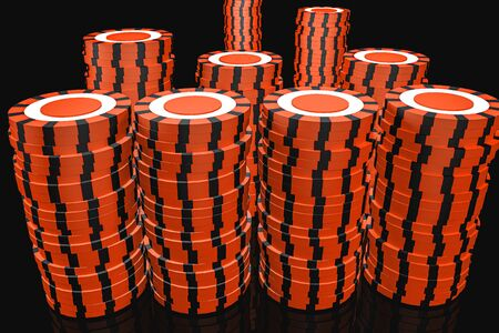 3d Illustration. Casino chips. Online casino concept. Isolated black background. Stock fotó