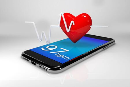 One Mobile and a heart . Concept of online repair or medical technologies .3d render Banco de Imagens