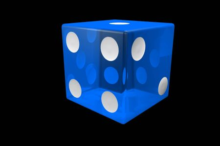 3d render blue Casino Dice . Poker Cubes Isolated on black Background.