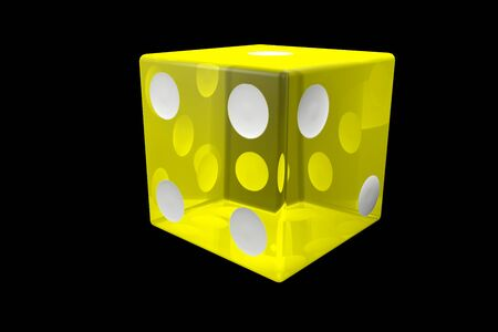 3d render yellow Casino Dice . Poker Cubes Isolated on black Background.