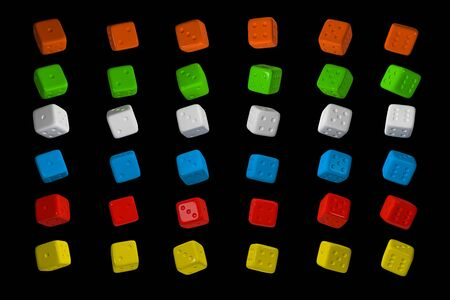 3d render Casino Dice Set . Red, Yellow, Green, Blue and White Poker Cubes Isolated on black Background. Stock fotó