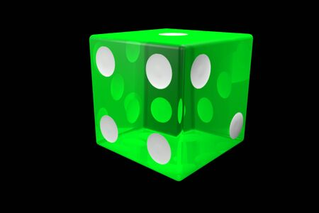 3d render green Casino Dice . Poker Cubes Isolated on black Background. Banco de Imagens