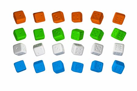 3d render Casino Dice Set . Red, Yellow, Green, Blue and White Poker Cubes Isolated on white Background.