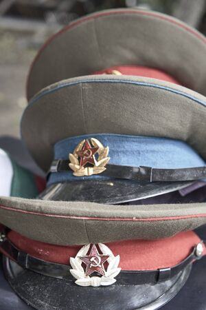 Group of Russian military hats . Cold war