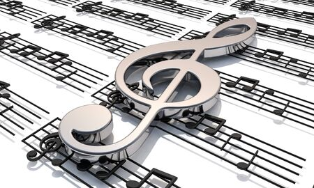 3D render . Pentagram with shiny music notes. Musical background