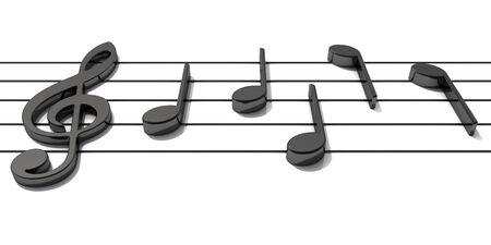 Render 3D. Pentagrama con notas musicales brillantes. Fondo musical