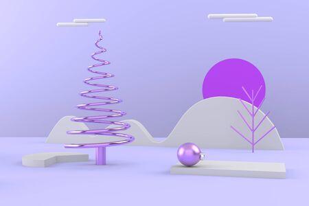 Merry Christmas postcard . Christmas golden tree . 3D rendering . 3D illustration