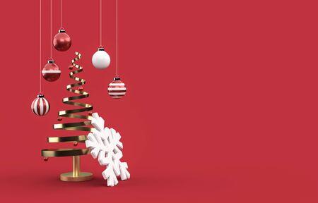 3D christmas postcard wallpaper .Merry Christmas concept . 3D illustration. 3d rendering Archivio Fotografico
