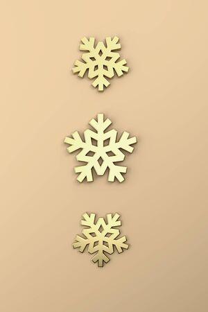 Merry Christmas postcard . Christmas golden star . 3D rendering . 3D illustration