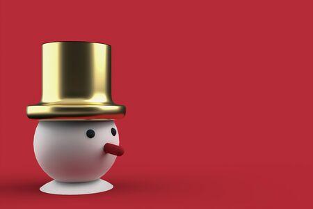 3D christmas postcard wallpaper with snowman .Merry Christmas concept . 3D illustration. 3d rendering