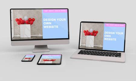 Laptop, mobile and tablet 3d rendering showing responsive web design .3d illustration