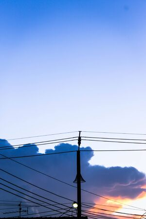 led lighting: Evening sky with power pole