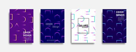 Abstract colorful line design background set, graphic banner cover and advertising design layout template.