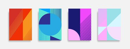 Abstract colorful geometric background set, graphic banner cover and advertising design layout template.