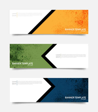 Set of abstract banners template. Vector grunge backgroun.