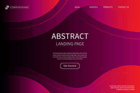 Landing page with abstract shapes.