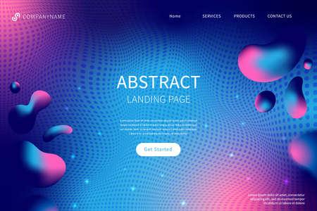 Futuristic abstract liquid landing page. Иллюстрация