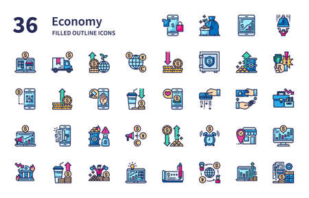 Economy icons for website, application, printing, document, poster design, etc.