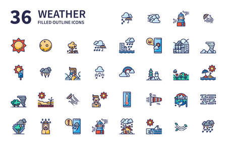 Weather icons for website, application, printing, document, poster design, etc. Иллюстрация