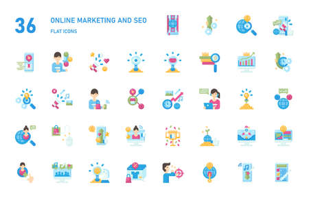 Online marketing and seo icon for website, application, printing, document, poster design, etc.