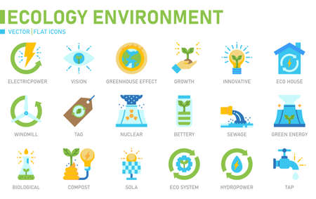 Ecology icon for website, application, printing, document, poster design, etc.