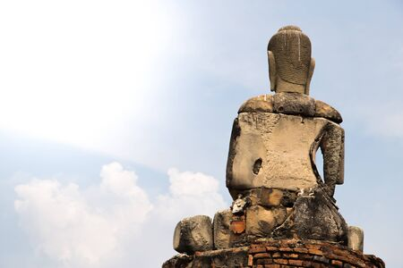 monument historical monument: Ruin of buddha in old temple, Ayudthaya, Thailand