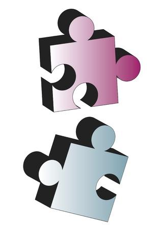 Mavi ve pembe İki puzzle parçaları Illustration
