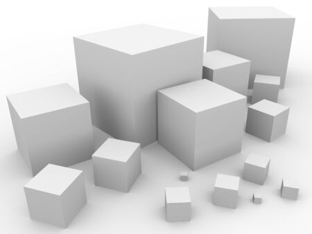 Some cubes with different sizes  Abstract illustration Stock Illustration - 16975903
