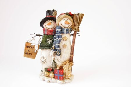 Happy snowman couple with merry xmas