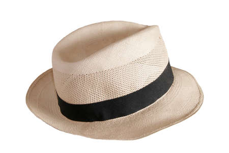 Beautiful traditional Panama hat isolated on white background  Clipping Path Stock Photo - 17031340