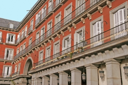 Detail of a decorated facade and balconies at the Palza Mayor, Madrid, Spain Stock Photo - 17025150