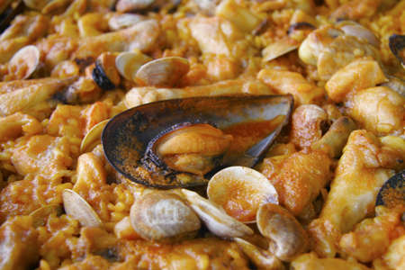 Spanish Paella in the pan  Ready to eat Stock Photo - 17031343