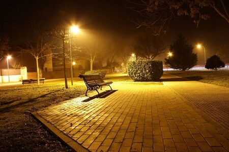 streetlamp: Night view of a park bench in the pool of light cast by a street light in autumn