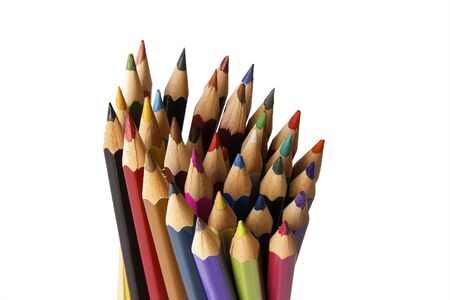 Colour pencils isolated on white background close up Banco de Imagens