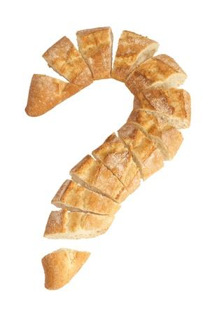 Sorgu formu ile somun ekmek beyaz zemin üzerine izole