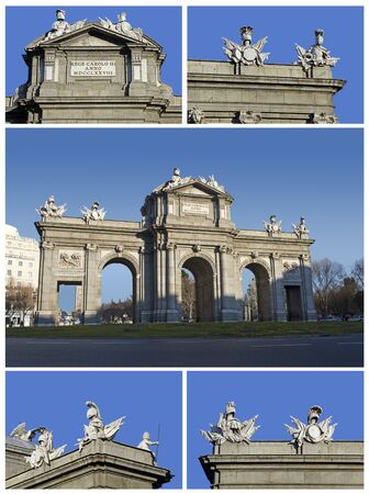 Puerta de Alcala  Alcala Gate  with its shields, in Madrid, Spain Stock Photo - 17709553