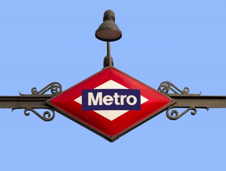 Metro Madrid Sign Structure against blue sky Stock Photo - 17815154