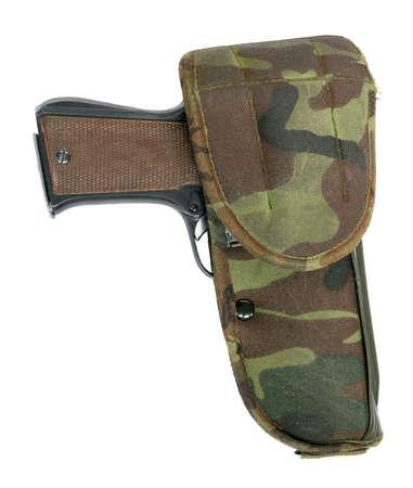 holster: Potro pistola en una funda ej�rcito aislado en un fondo wihite Foto de archivo