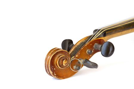 Detail an old violin on a white background photo