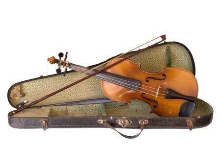 Old violin whith its vintage case on a white background