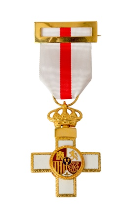 valor: A medal awarded for valor in action  isolated on white with a clipping path