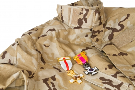 Desert army uniform with its honor medals