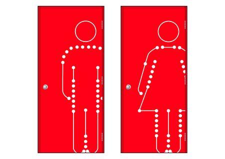 genders: Toilet door for male and female genders