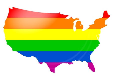 Bir ABD harita üzerinde eşcinsel bayrağının İllüstrasyon. Gurur gay gün