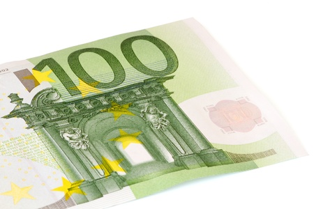 one hundred euro banknote: Primer plano de un billete de ? 100