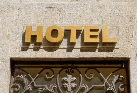Golden sign hotel in the city photo