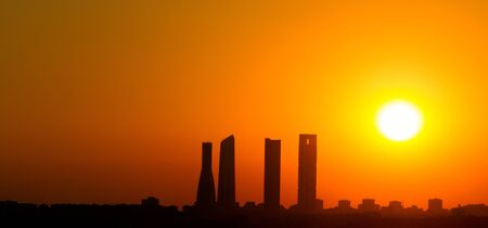 Sunrise business tower silhouette in Madrid photo