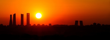 Sunrise business tower silhouette in Madrid